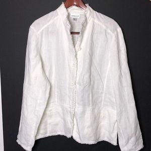 Coldwater Creek Summer Linen Blazer White XL